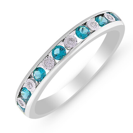 Ring with Blue Topaz & Diamond in Sterling Silver