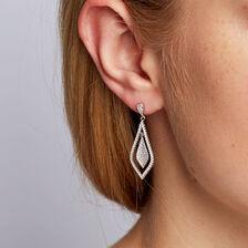 Teardrop Earrings with Cubic Zirconia in Sterling Silver