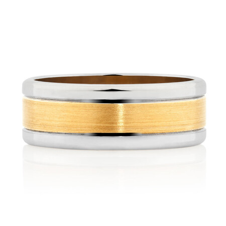 Men's Wedding Band in 10ct Yellow & White Gold