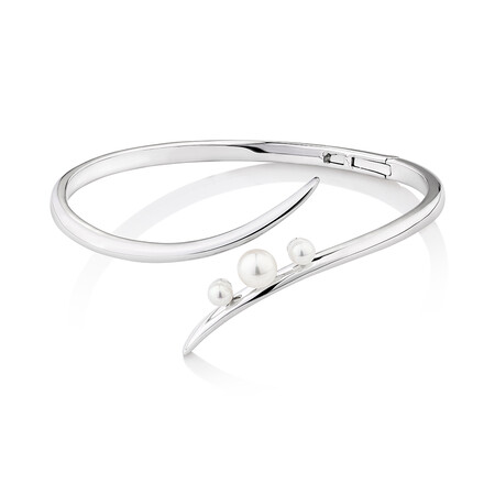 Cuff Bangle with Cultured Freshwater Pearls in Sterling Silver