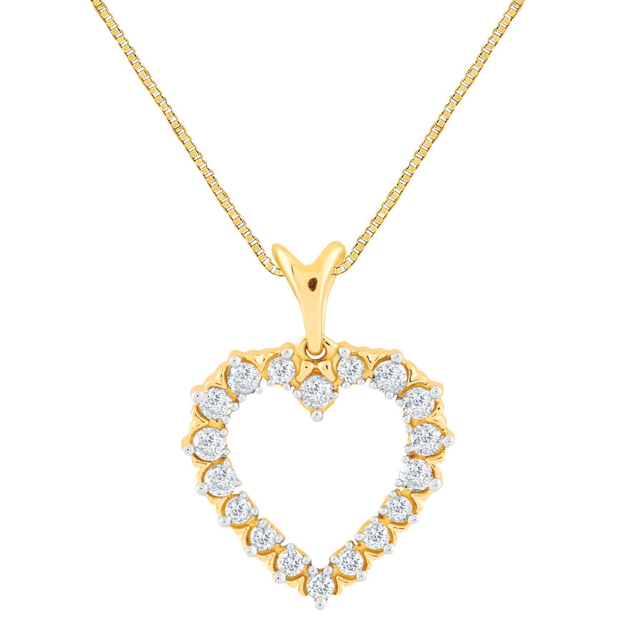 Heart Pendant With 0.25 Carat TW Of Diamonds In 10ct Yellow Gold