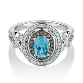 Ring with Blue Topaz & Brown Diamonds in 14ct White Gold