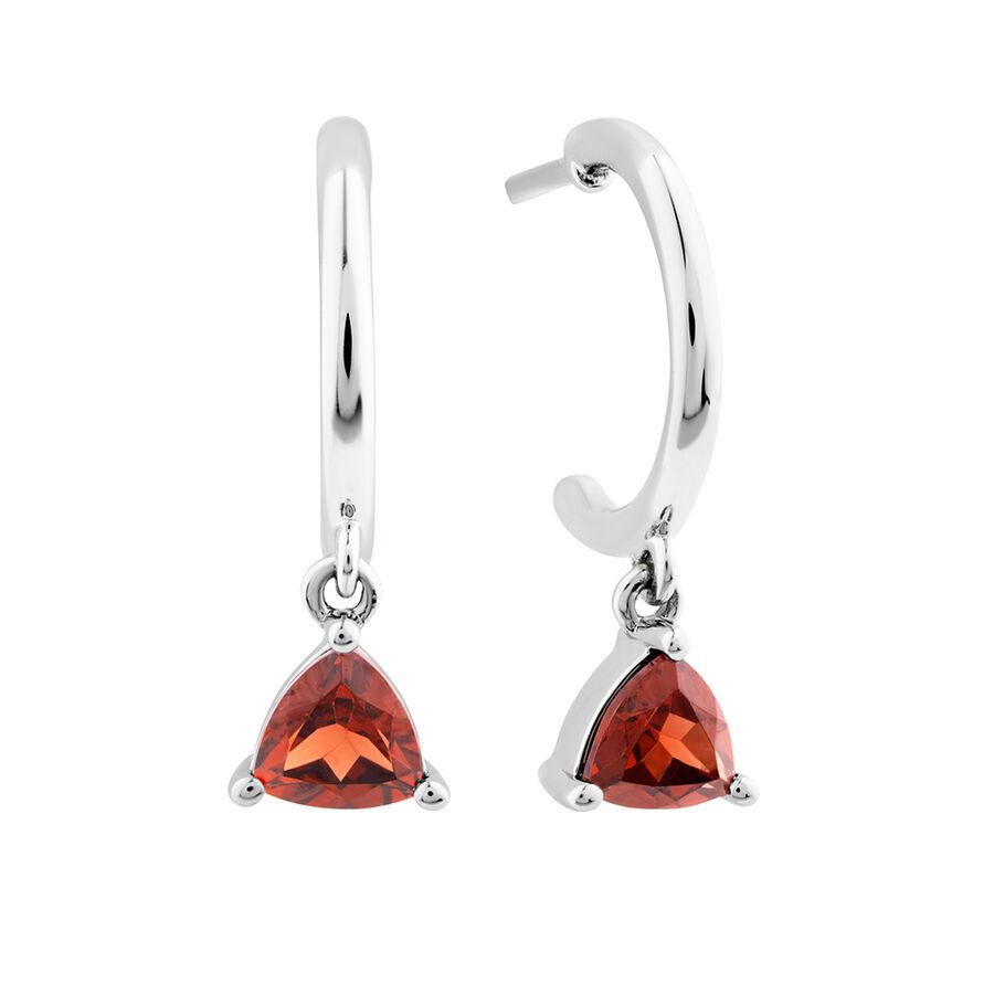 Garnet Drop Earrings In Sterling Silver