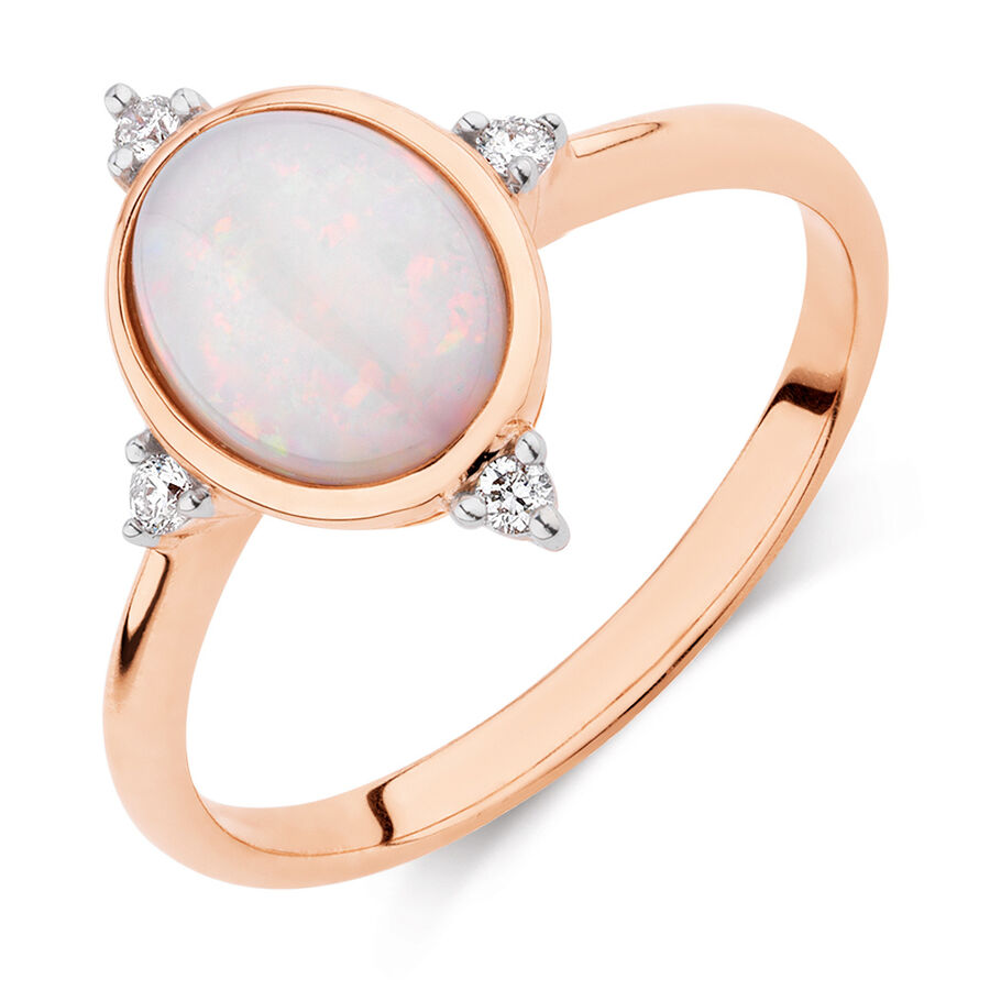 Opal Compass Ring with Diamonds in 10ct Rose Gold