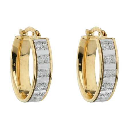 Online Exclusive - Glitter Oval Hoop Earrings in 10ct Yellow Gold
