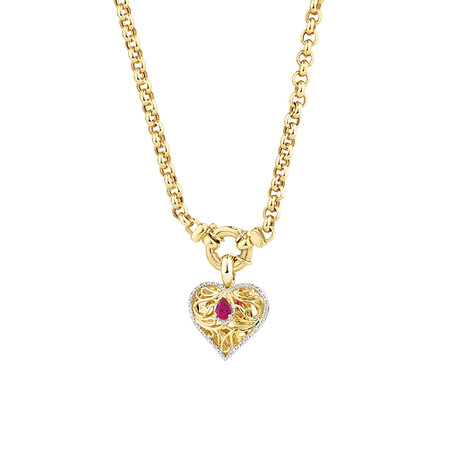 Heart Pendant with Created Ruby & 0.15 Carat TW of Diamonds in 10ct Yellow Gold