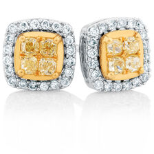 Stud Earrings with 0.63 Carat TW of White & Natural Yellow Diamonds in 10ct Yellow & White Gold