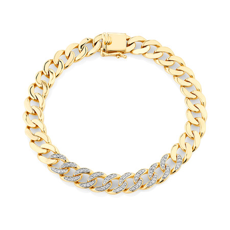 Cuban Link Bracelet with 0.75 Carat TW of Diamonds in 10ct Yellow Gold