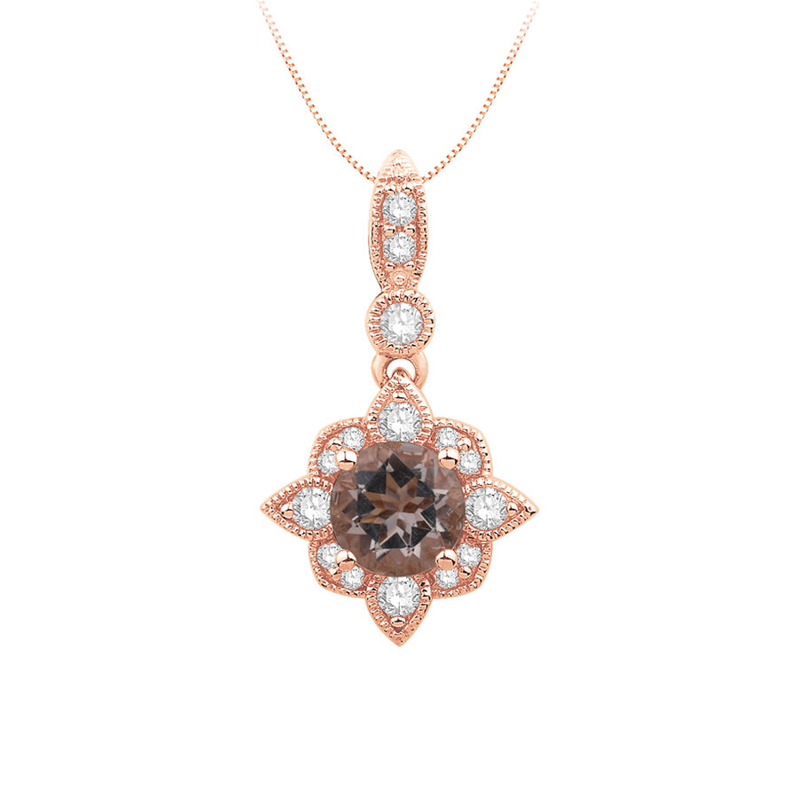 Pendant with Morganite and 0.15 Carat TW of Diamonds in 10ct Rose Gold
