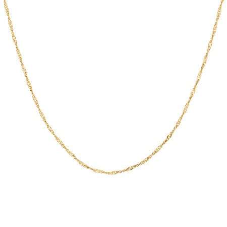 "50cm (20"") Hollow Singapore Chain in 10ct Yellow Gold"