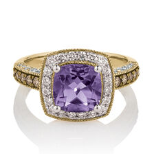 Ring with Amethyst & 0.75 Carat TW of Diamonds in 10ct Yellow, White & Rose Gold
