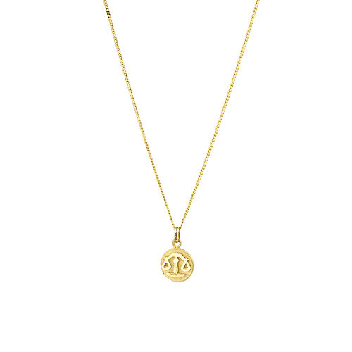 Libra Zodiac Pendant in 10ct Yellow Gold