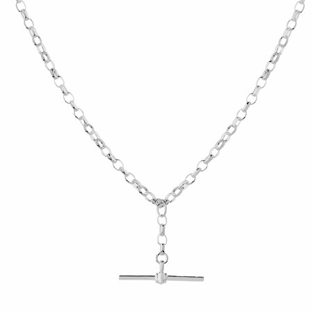 """45cm (18"""") Belcher Chain with Fob in Sterling Silver"""