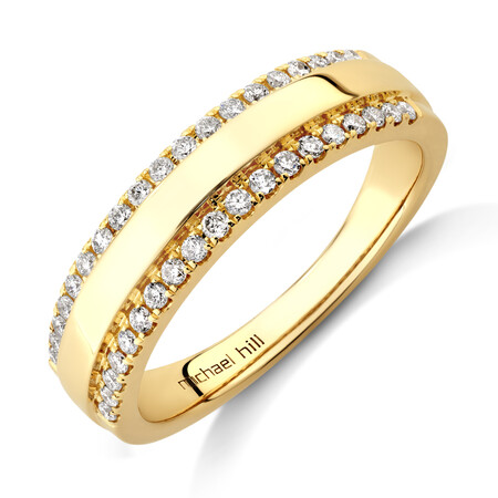 Claw Two-Row Duo Wedding Ring with 0.25 Carat TW of Diamonds in 10kt Yellow Gold