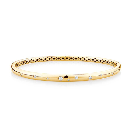 Hammer Set Bangle with 0.25 Carat TW of Diamonds in 10ct Yellow Gold