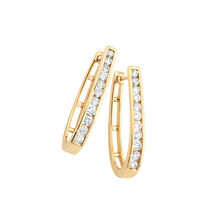 Huggie Earrings with 1 Carat TW of Diamonds in 10ct Yellow Gold