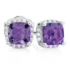 Stud Earrings with Amethyst & Diamonds in 10ct White Gold