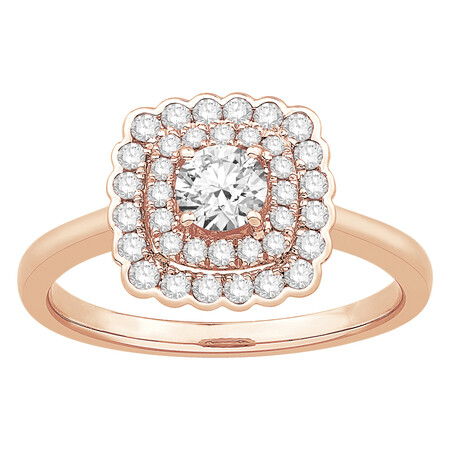 Ring with 0.75 Carat TW of Diamonds in 14ct Rose Gold