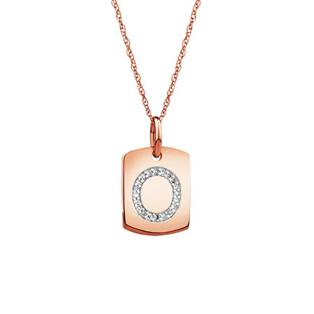 """O"" Initial Rectangular Pendant With Diamonds In 10ct Rose Gold"