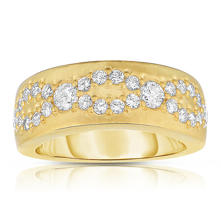 Fancy Ring with 0.95 Carat TW of Diamonds in 14ct Yellow Gold