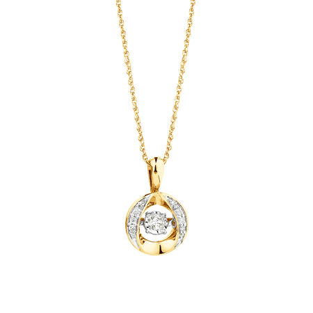 Everlight Pendant with 0.12 Carat TW of Diamonds in 10ct Yellow Gold