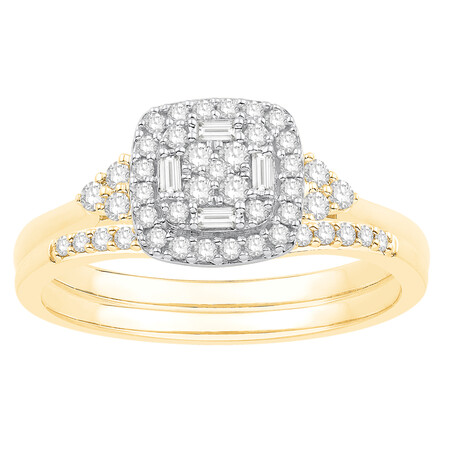 Bridal set with 0.38 Carat TW of Diamodns in 10ct Yellow & White Gold