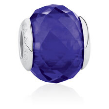 Online Exclusive - Blue Faceted Glass Charm in Sterling Silver