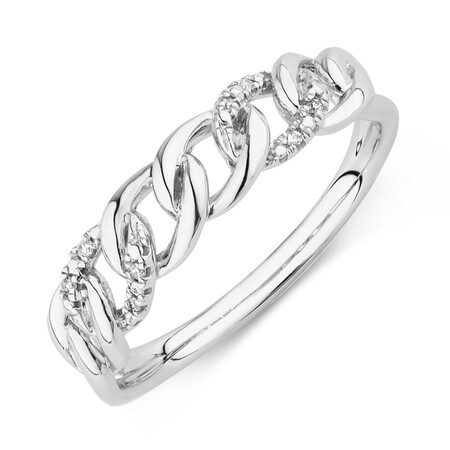 Link Ring with Diamonds in Sterling Silver