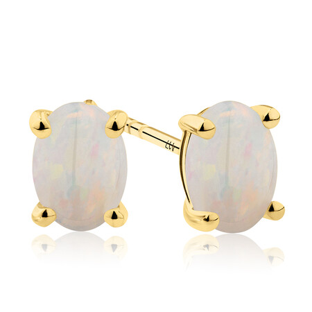 Stud Earrings with Natural White Opal in 10ct Yellow Gold