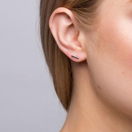 Bar Stud Earrings in Sterling Silver