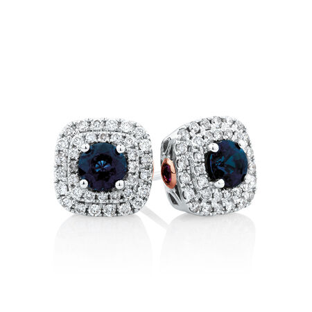 Michael Hill Designer Stud Earrings With Sapphire & 0.33 Carat TW Of Diamonds In 10ct White & Rose Gold