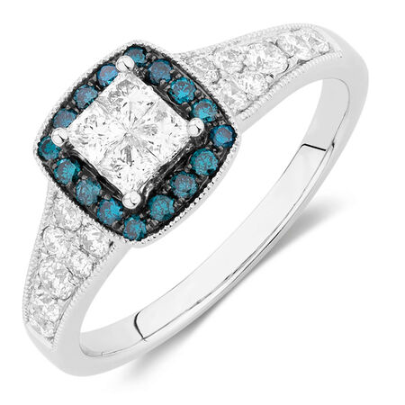 Engagement Ring with 3/4 Carat TW of White & Enhanced Blue Diamonds in 14ct White Gold