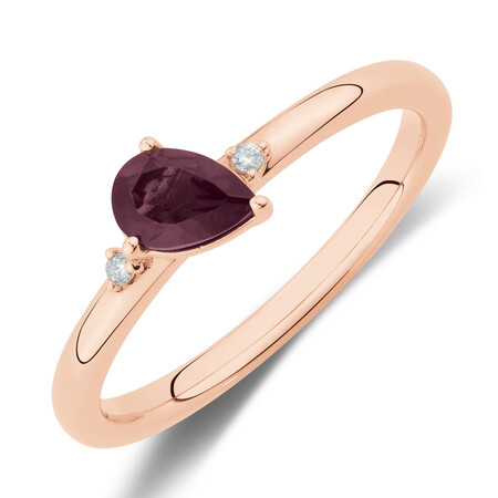 Stacker Ring with Diamonds & Rhodolite Garnet in 10ct Rose Gold