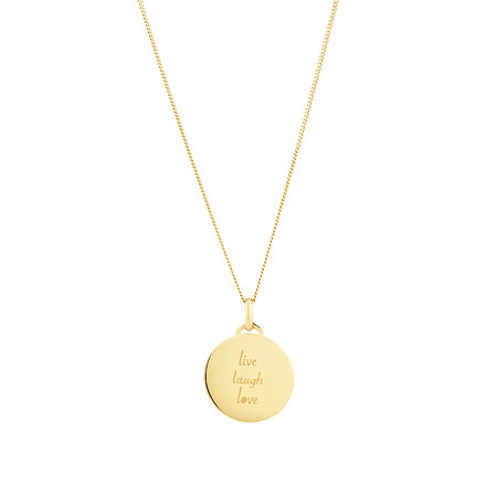Live, Laugh, Love' Disc Pendant in 10ct Yellow Gold