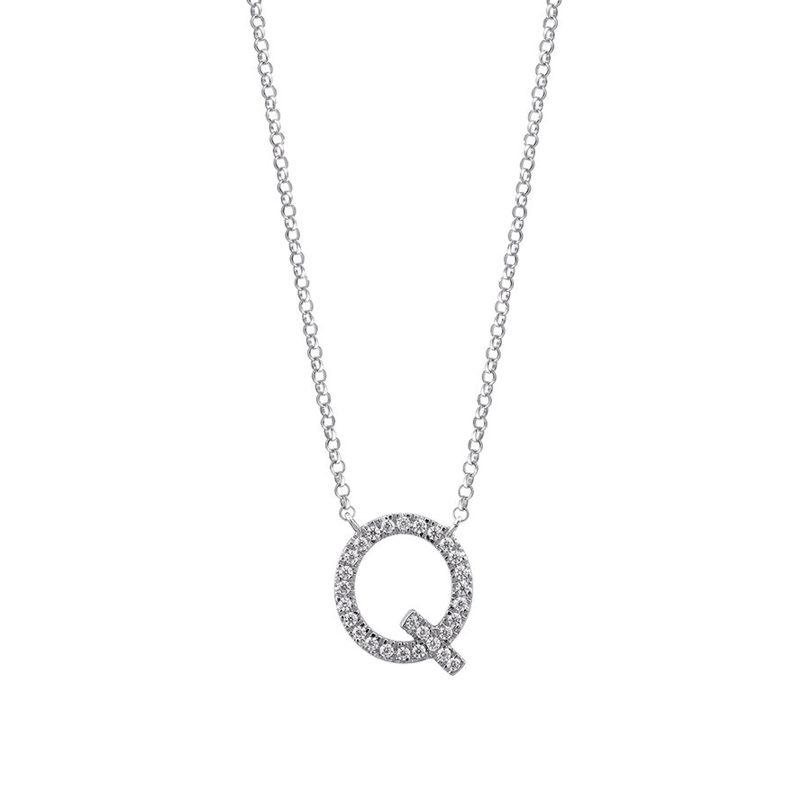 """""""Q"""" Initial necklace with 0.10 Carat TW of Diamonds in 10ct White Gold"""