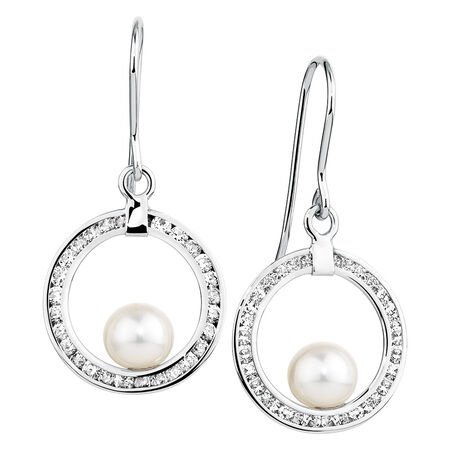 Drop Earrings with Cubic Zirconia & Cultured Freshwater Pearl in 10ct Yellow Gold