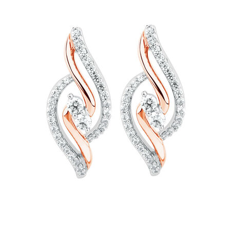 By My Side Earrings with 0.39 Carat TW of Diamonds in 10ct Rose Gold
