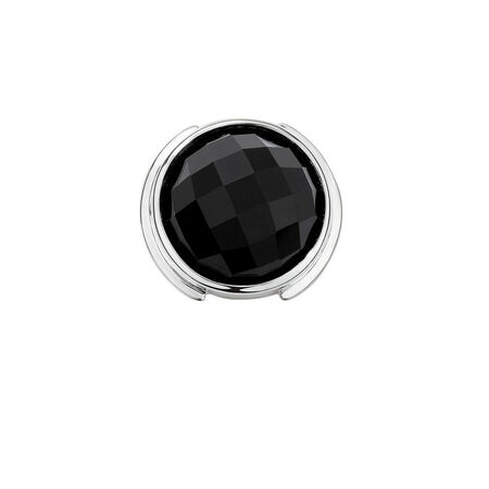 Mini Coin Locket Insert with Black Glass in Sterling Silver