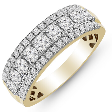 Three Row Ring with 1.00 Carat TW of Diamonds in 10ct Yellow Gold