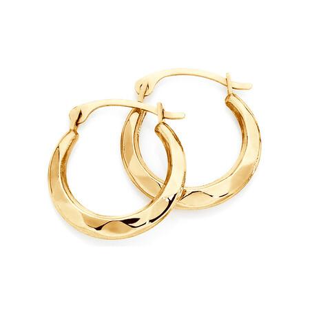 14mm Patterned Hoop Earrings In 10ct Yellow Gold