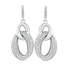 Loop Link Drop Earrings with Cubic Zirconia in Sterling Silver