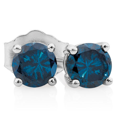 Online Exclusive - Stud Earrings with 0.96 Carat TW of Enhanced Blue Diamonds in 10ct White Gold