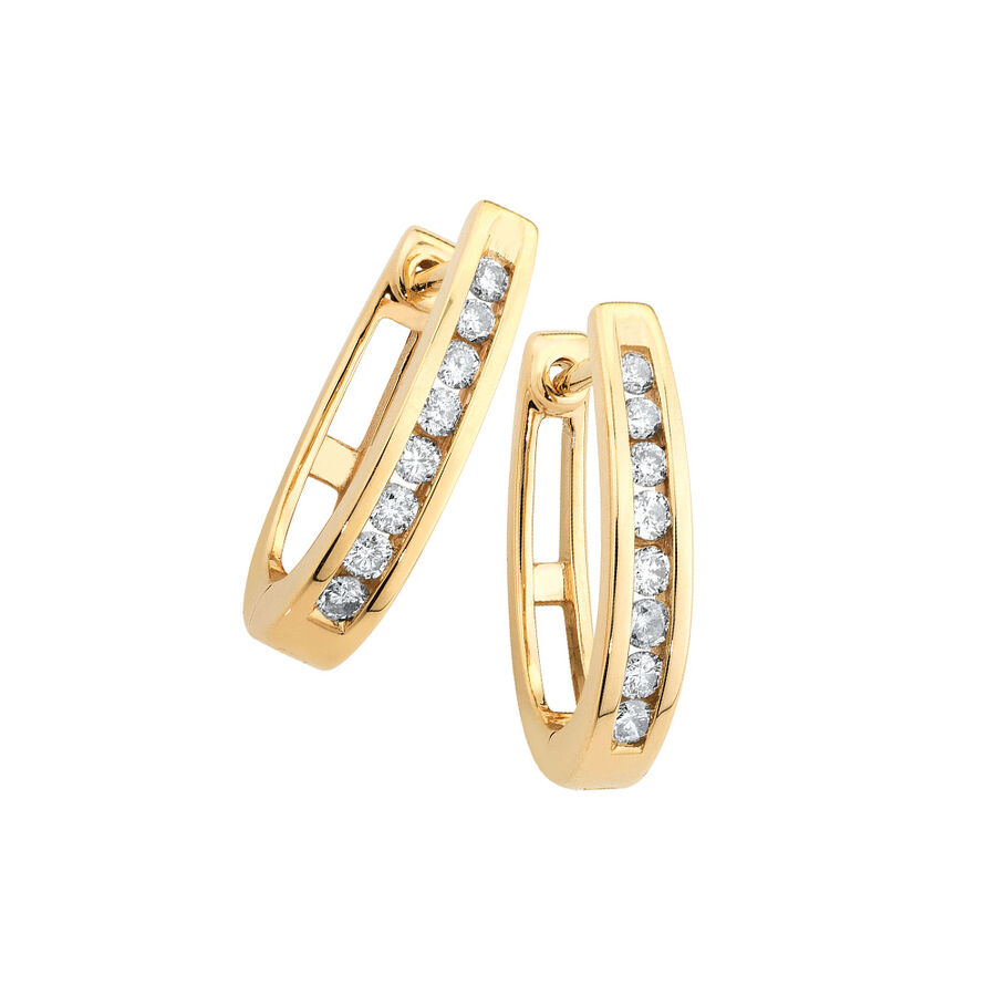 Huggie Earrings with 0.25 Carat TW of Diamonds in 10ct Yellow Gold
