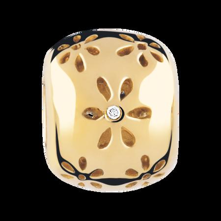 Diamond Set & 10ct Yellow Gold Flower Pattern Charm