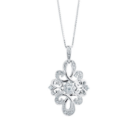 Online Exclusive - Michael Hill Designer Pendant with 0.16 Carat TW of Diamonds in Sterling Silver & 10ct Rose Gold