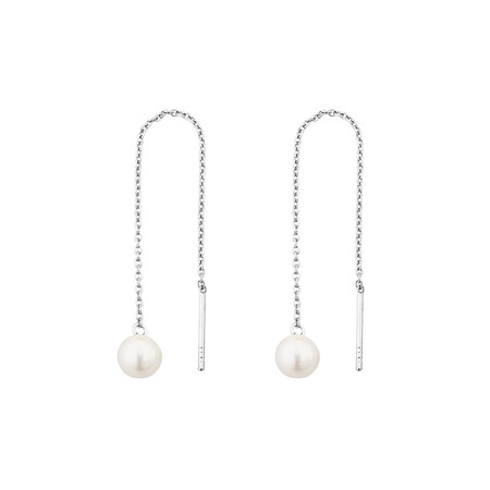 6mm Threader Earrings with Cultured Freshwater Pearls in Sterling Silver