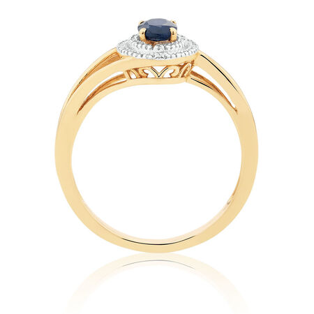 Ring with Blue Sapphire & Diamonds in 10ct Yellow Gold