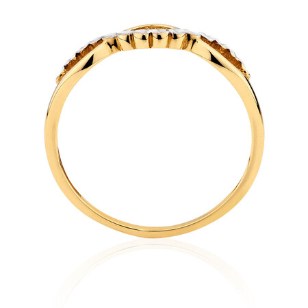 Crossover Ring in 10ct Yellow & White Gold