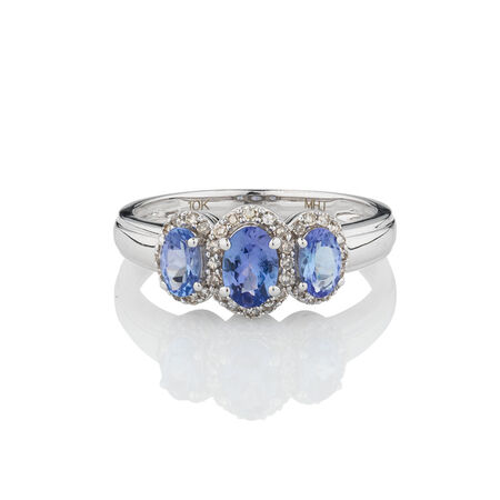 Three Stone Ring with Tanzanite & 0.20 Carat TW of Diamonds in 10ct White Gold