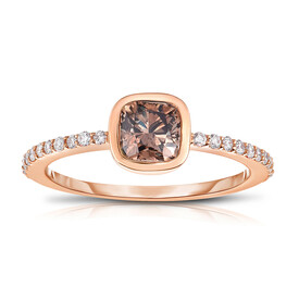 Ring with 1.07 Carat TW of Brown & White Diamonds in 14ct Rose Gold